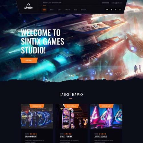 黑色大气的电竞游戏社区工作室网站html5模板