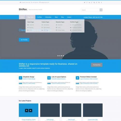蓝色企业商务通用的商业咨询公司网站响应式html5模板