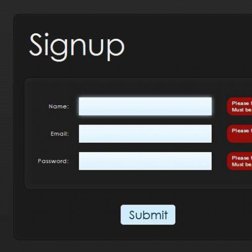 jquery表单提交制作碳纤维注册表单验证效果代码
