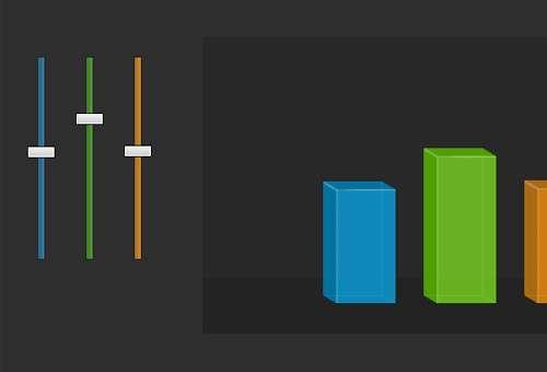 jquery ui三维动态滑块CSS3制作七彩滑块调节数据大小特效代码