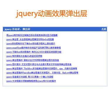 jquery弹出层特效animate制作类似动画效果的浮动弹出层代码