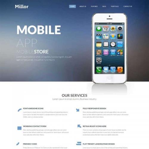 简洁的响应式苹果手机app应用软件网站HTML模板下载