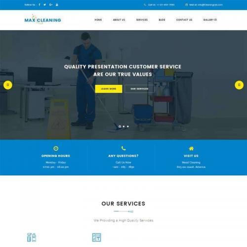 蓝色宽屏的保洁公司家政企业网站模板html代码