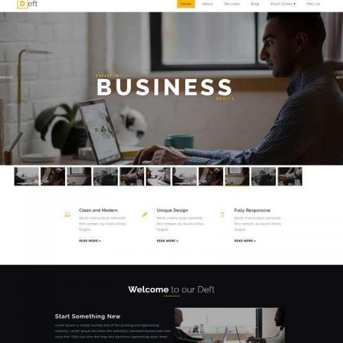 黄色宽屏的商务咨询服务公司网页模板HTML代码