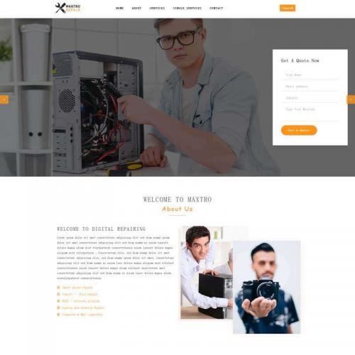 橙色的手机电脑维修服务公司网站html5模板代码