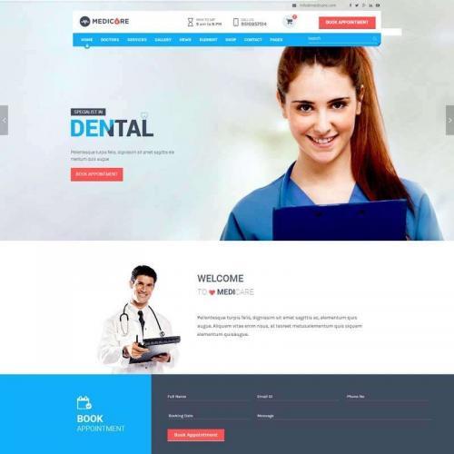 蓝色大气的医疗服务网站模板html整站代码
