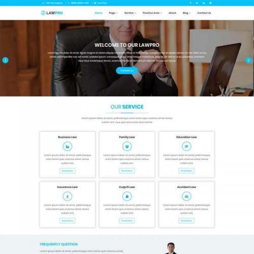 蓝色实用的律师咨询网页模板HTML代码