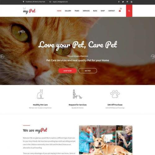 红色大气的宠物兽医网站模板HTML代码