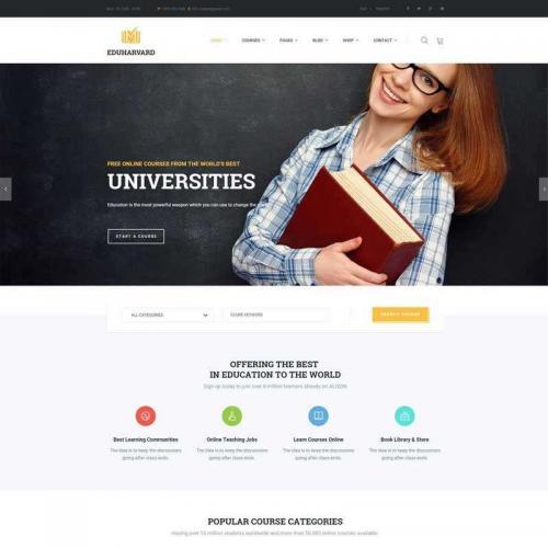 大气的在线教育课程网站HTML模板代码