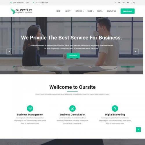 大气的商务咨询业务公司网站HTML模板代码